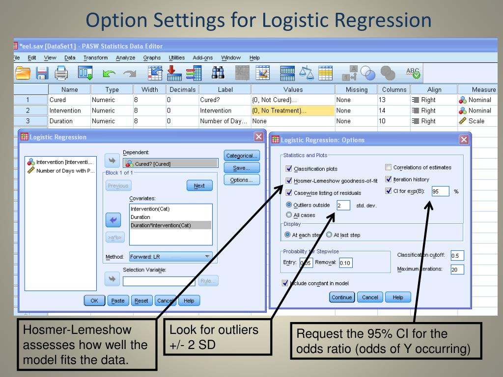 Option Settings for Logistic Regression
