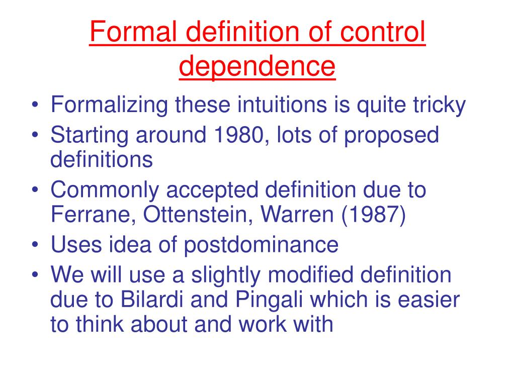 Formal definition of control dependence