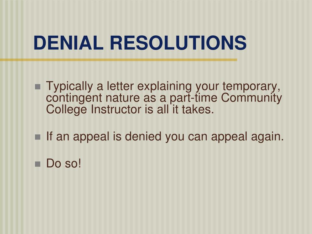 DENIAL RESOLUTIONS