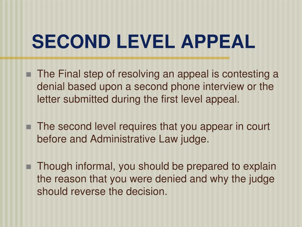 SECOND LEVEL APPEAL