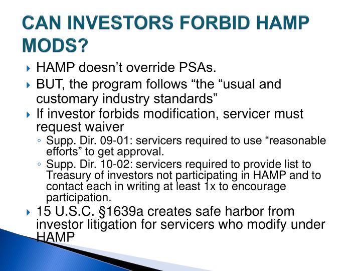 CAN INVESTORS FORBID HAMP MODS?