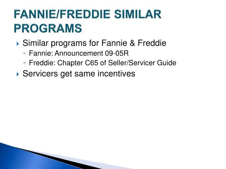 FANNIE/FREDDIE SIMILAR PROGRAMS