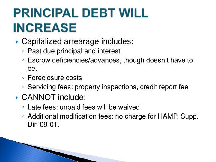 PRINCIPAL DEBT WILL INCREASE
