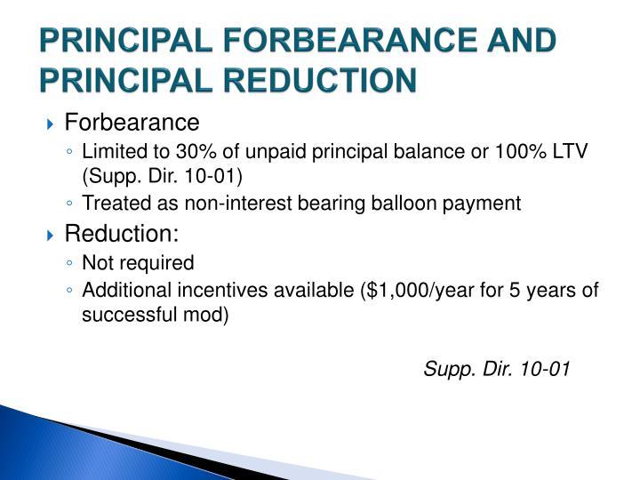 PRINCIPAL FORBEARANCE AND PRINCIPAL REDUCTION