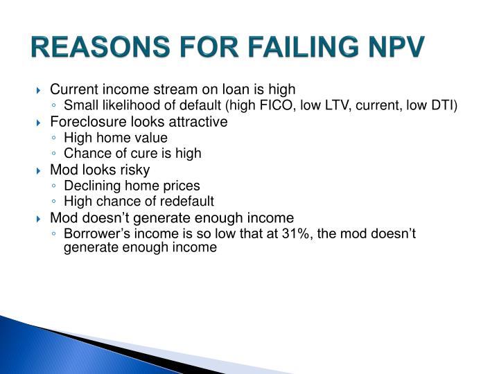 REASONS FOR FAILING NPV