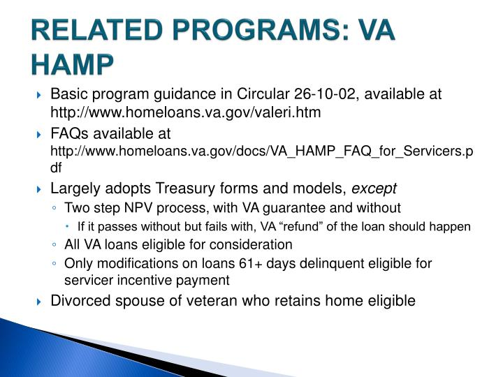 RELATED PROGRAMS: VA HAMP