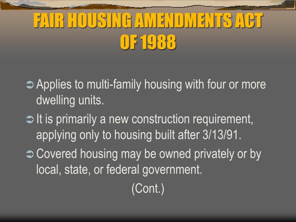FAIR HOUSING AMENDMENTS ACT OF 1988