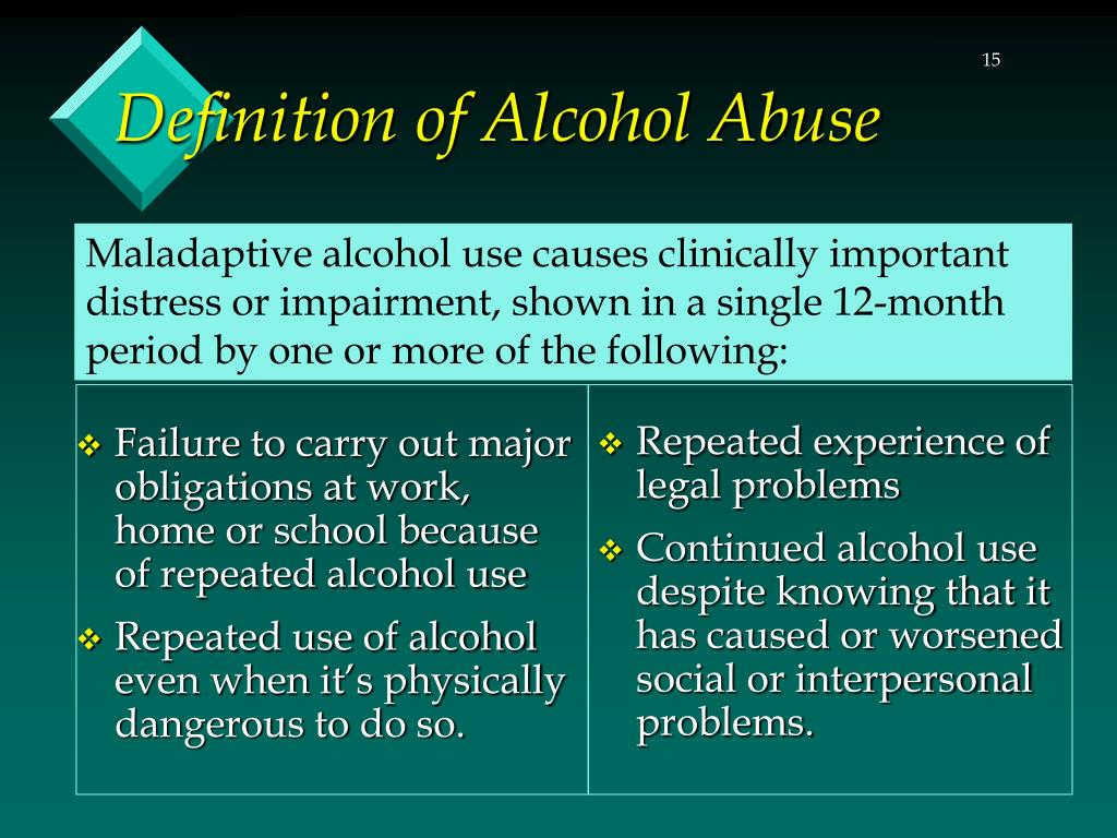 Failure to carry out major obligations at work, home or school because of repeated alcohol use