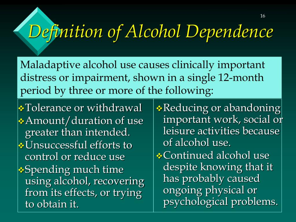 Maladaptive alcohol use causes clinically important distress or impairment, shown in a single 12-month