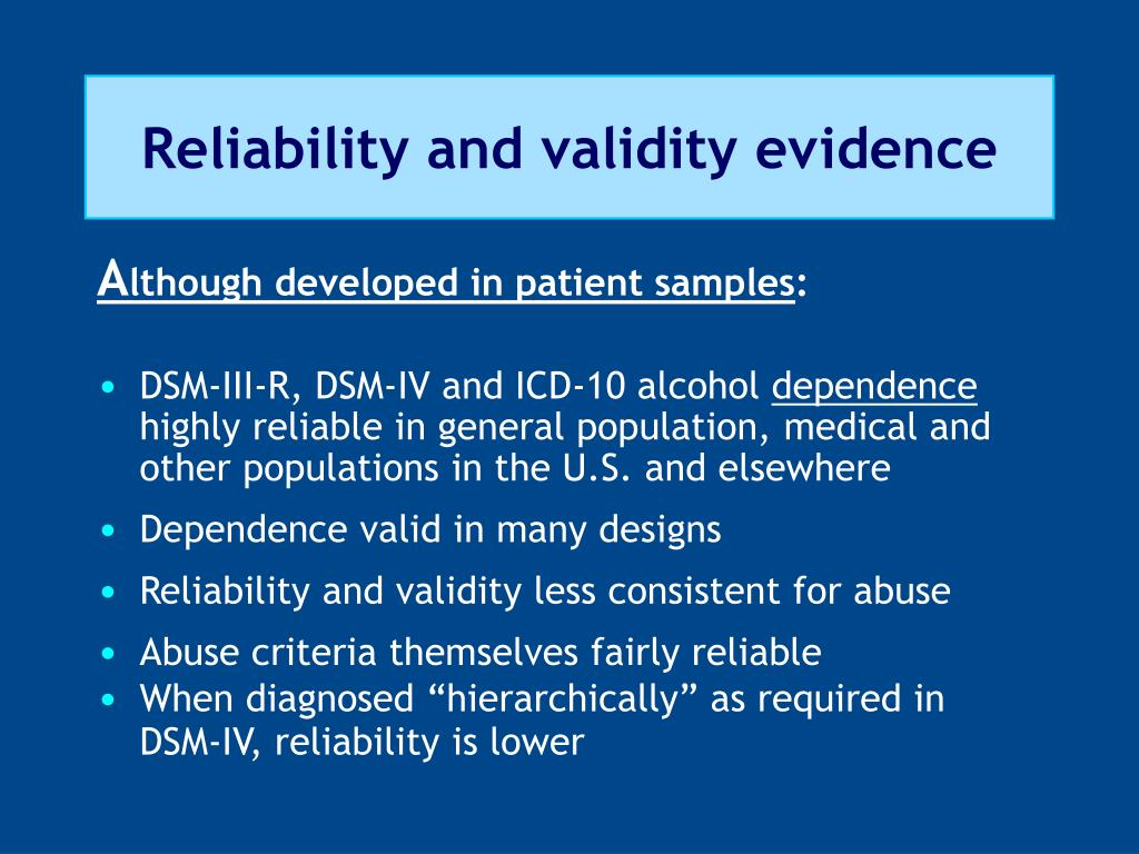 Reliability and validity evidence