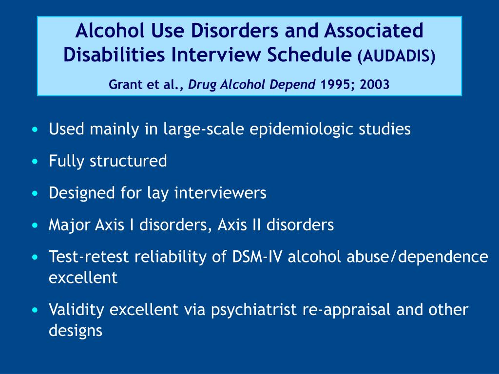 Alcohol Use Disorders and Associated Disabilities Interview Schedule