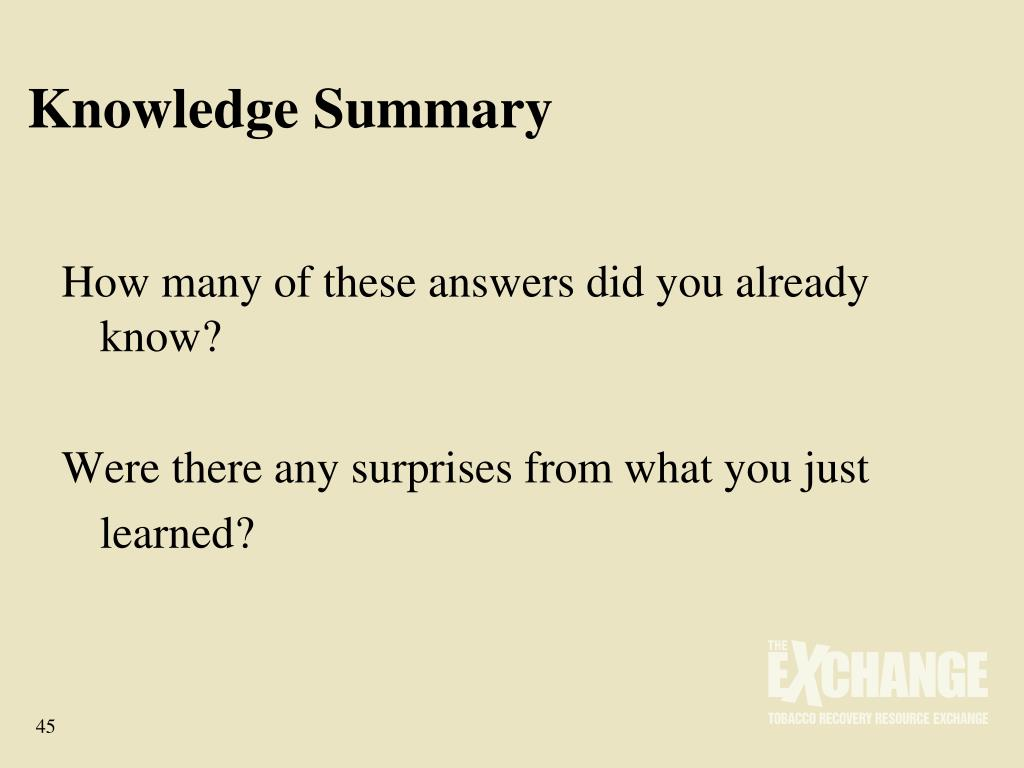 Knowledge Summary