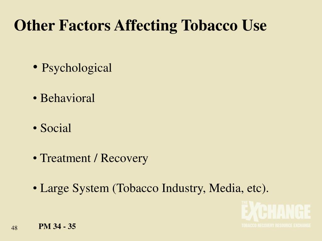 Other Factors Affecting Tobacco Use