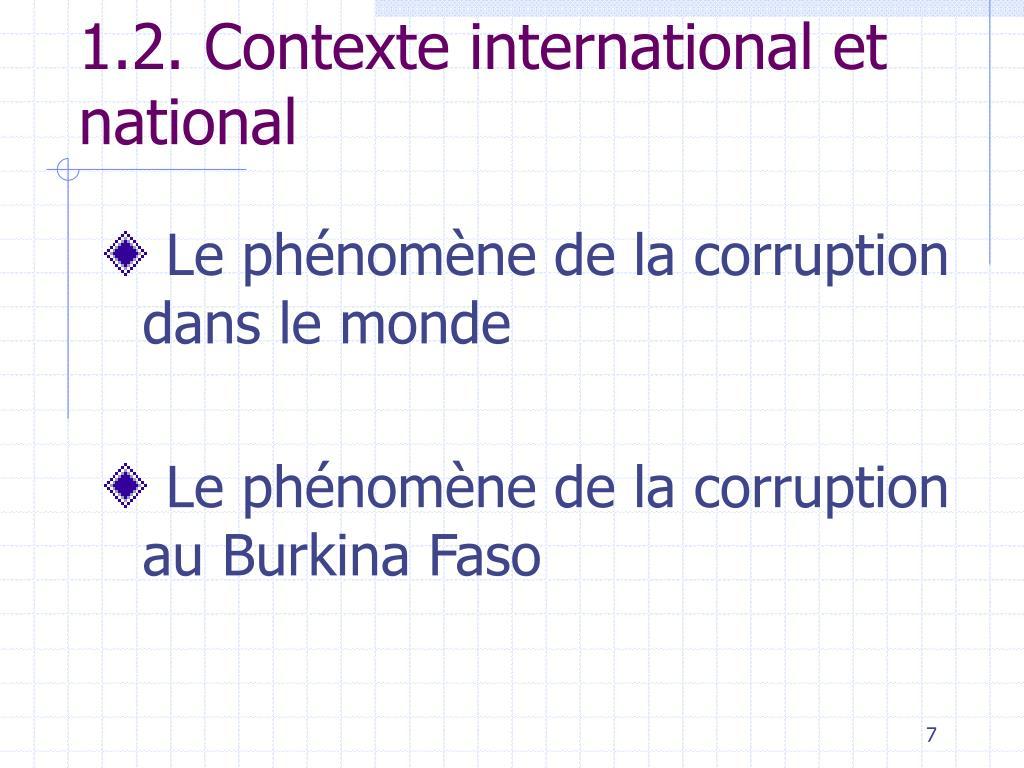 1.2. Contexte international et national