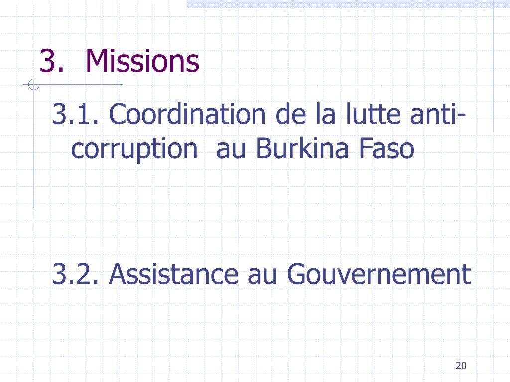 3.1. Coordination de la lutte anti-corruption  au Burkina Faso