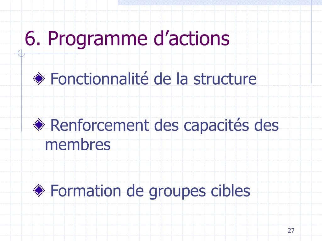 6. Programme d'actions