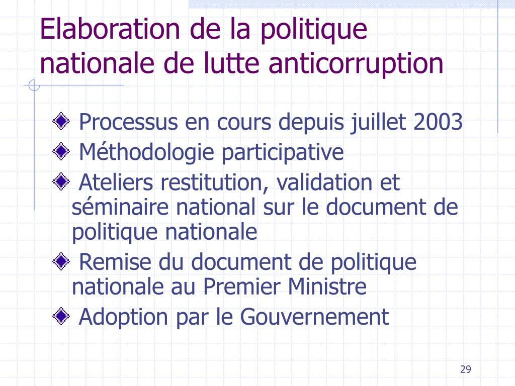 Elaboration de la politique nationale de lutte anticorruption