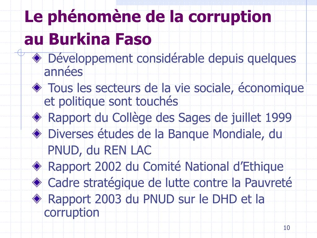 Le phénomène de la corruption au Burkina Faso