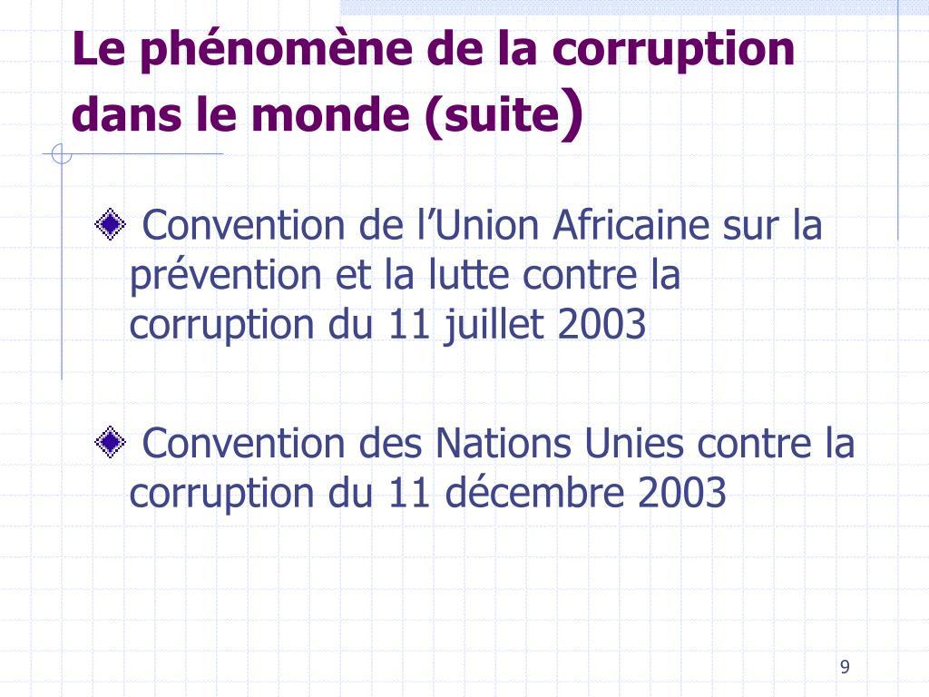 Le phénomène de la corruption dans le monde (suite