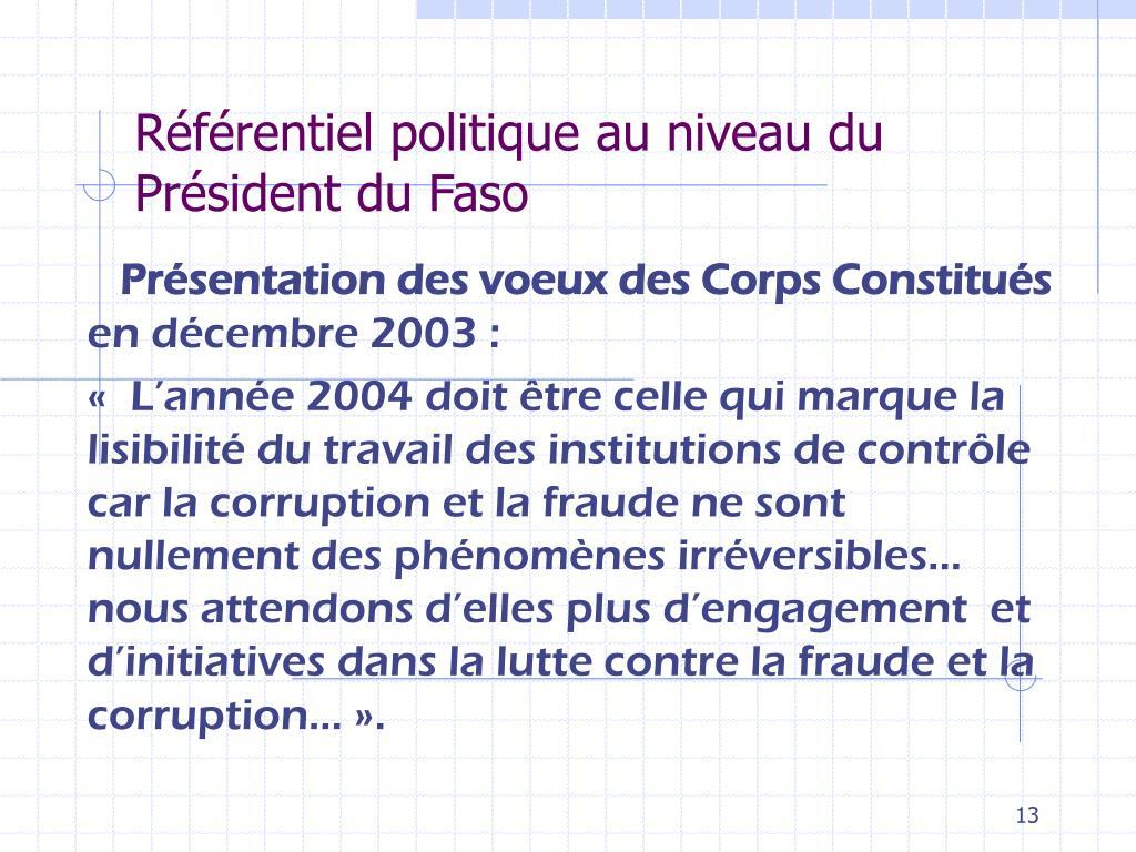 Référentiel politique au niveau du Président du Faso