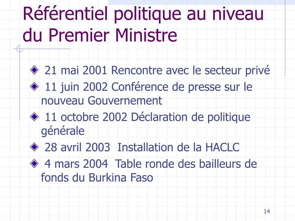 Référentiel politique au niveau du Premier Ministre