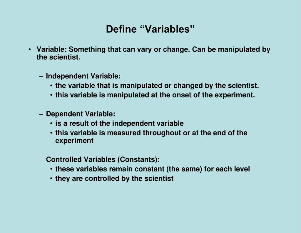 "Define ""Variables"""