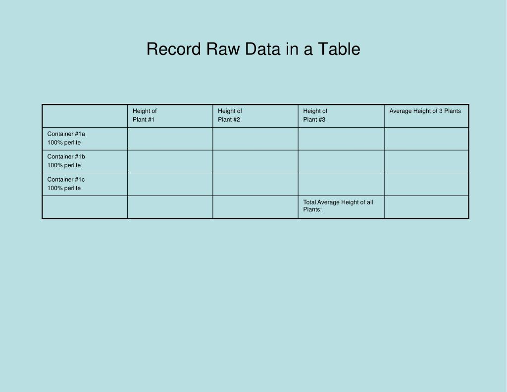 Record Raw Data in a Table