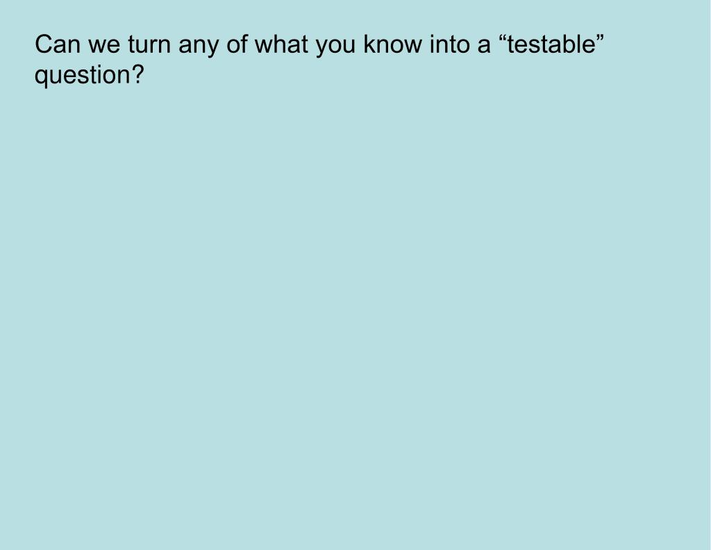 "Can we turn any of what you know into a ""testable"" question?"