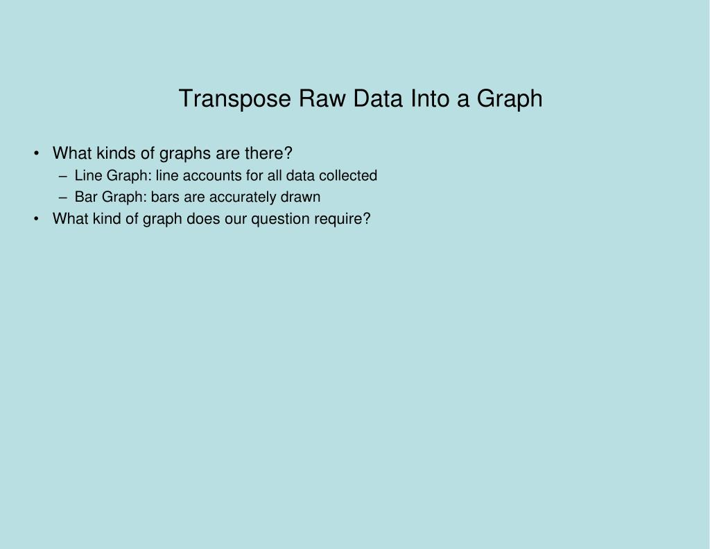 Transpose Raw Data Into a Graph