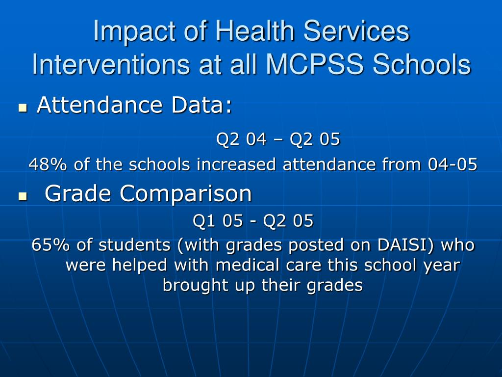 Impact of Health Services Interventions at all MCPSS Schools