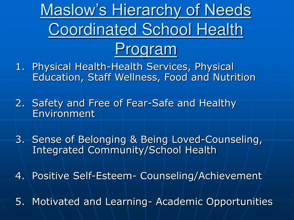 Maslow's Hierarchy of Needs Coordinated School Health Program