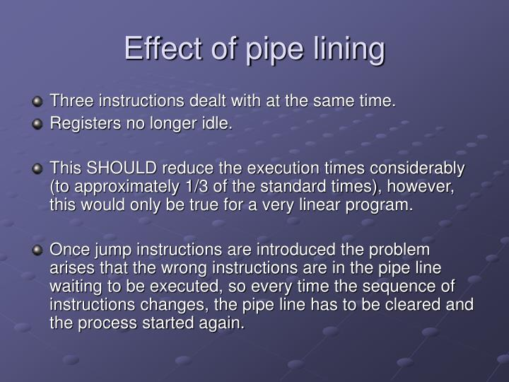 Effect of pipe lining