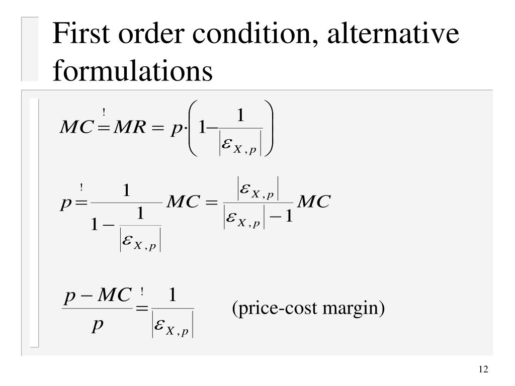 First order condition, alternative formulations