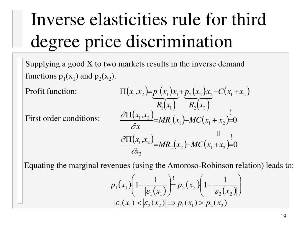 Inverse elasticities rule for third degree price discrimination