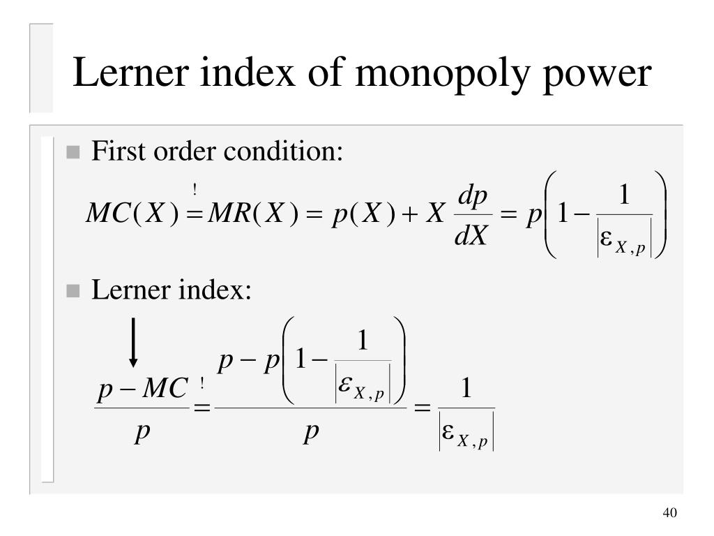 Lerner index of monopoly power