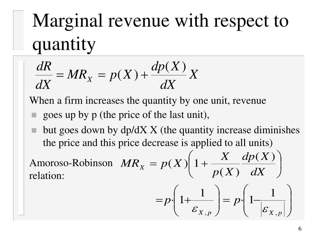 Marginal revenue with respect to quantity