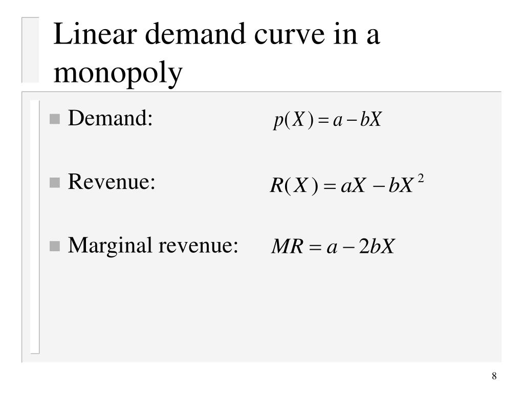 Linear demand curve in a monopoly