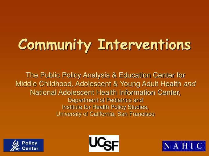 Community interventions