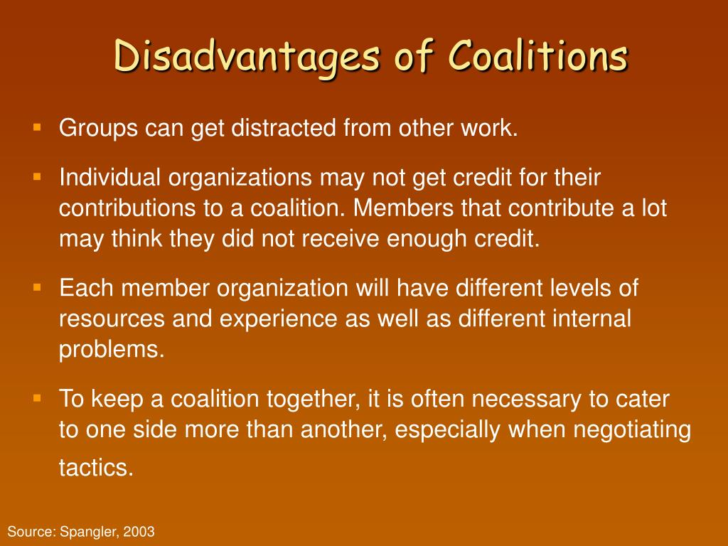 Disadvantages of Coalitions