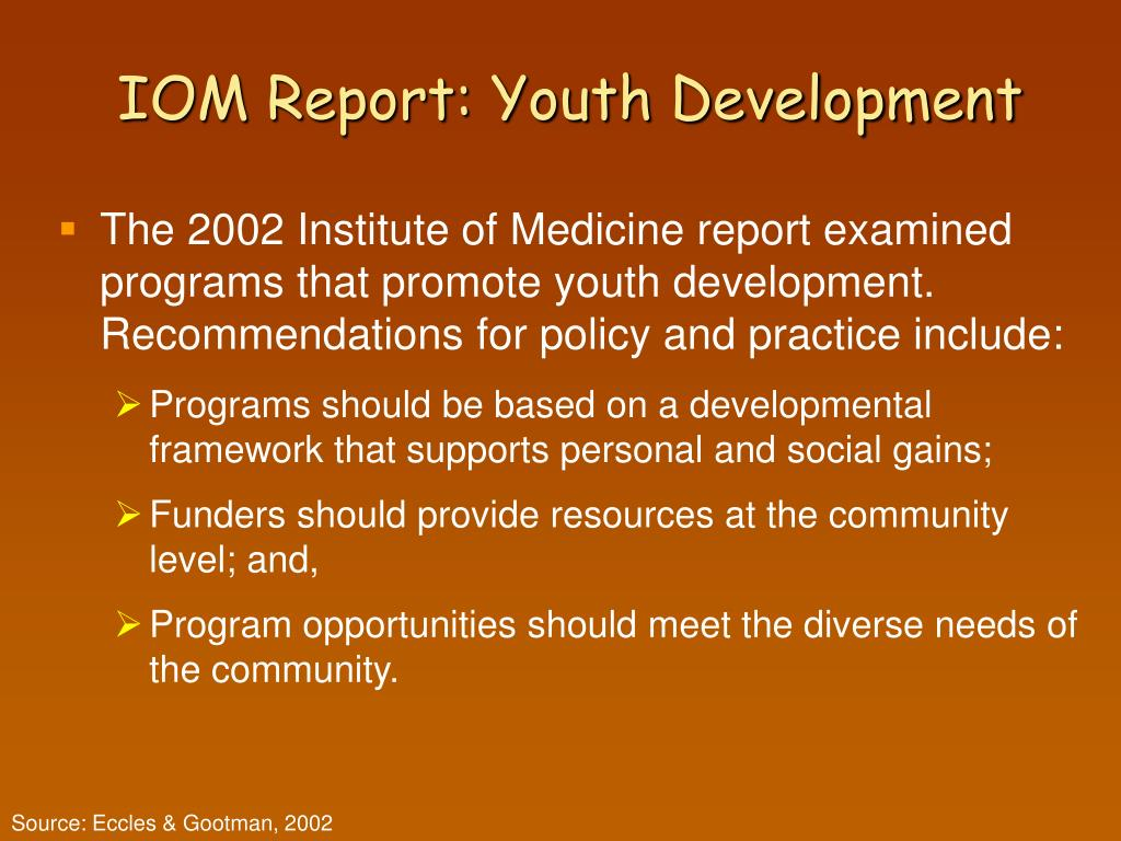 IOM Report: Youth Development