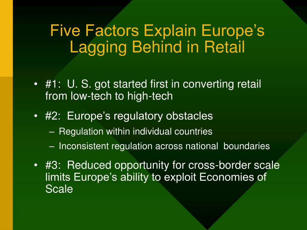 Five Factors Explain Europe's Lagging Behind in Retail