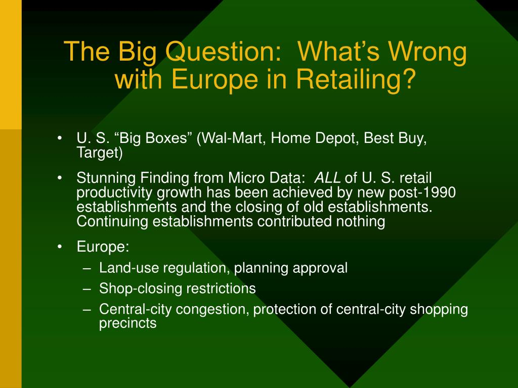 The Big Question:  What's Wrong with Europe in Retailing?