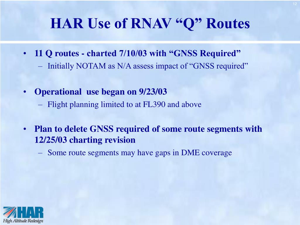 "HAR Use of RNAV ""Q"" Routes"