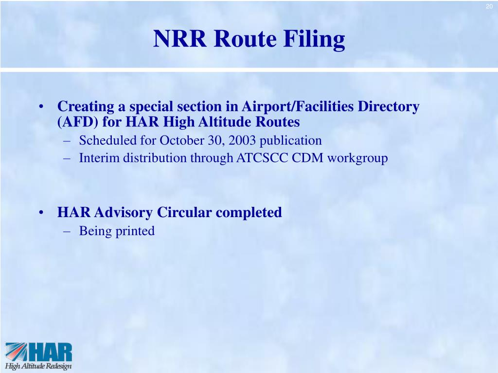 NRR Route Filing
