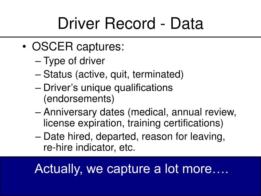 Driver Record - Data