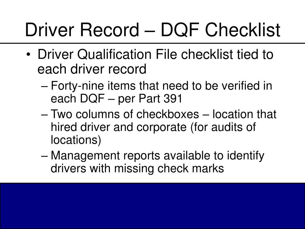 Driver Record – DQF Checklist