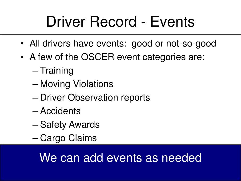 Driver Record - Events
