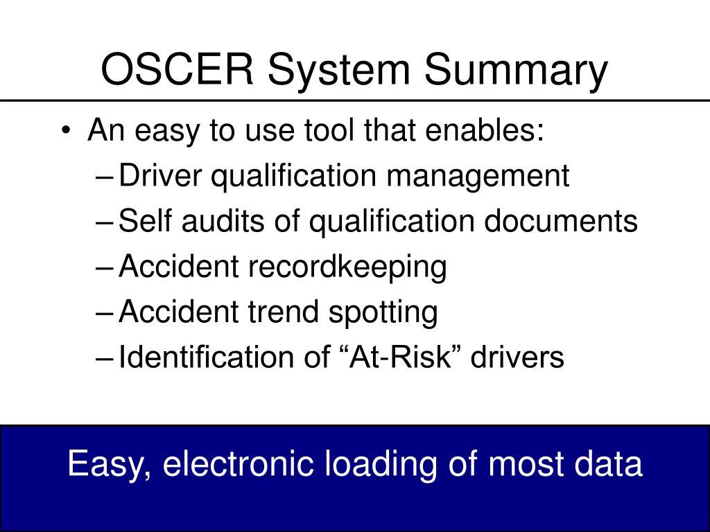 OSCER System Summary