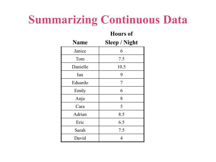 Summarizing Continuous Data