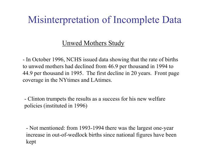 Misinterpretation of Incomplete Data
